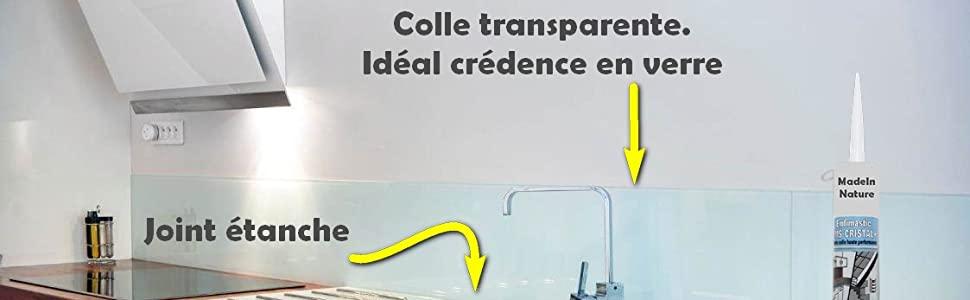 Mastic colle transparent, haute performance, joint souple et résistant.